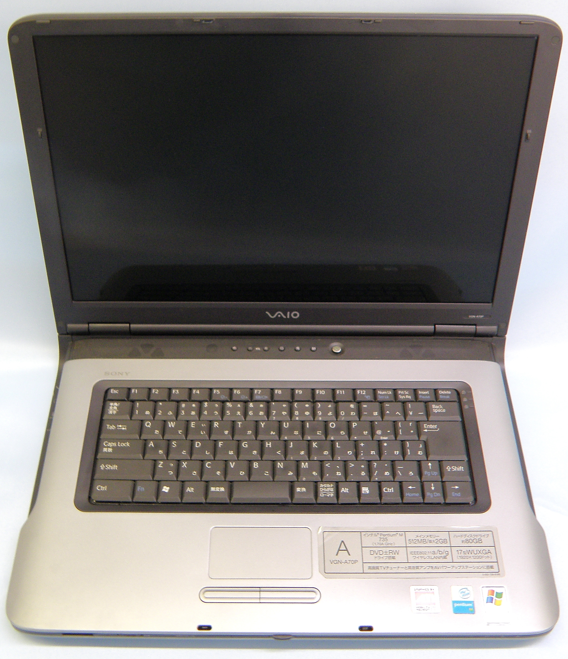 SONY ノートパソコン VGN-A70P