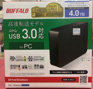 BUFFALO 外付けHDD 4TB HD-LC4.0U3-BK入荷しました| ハードオフ三河安城店