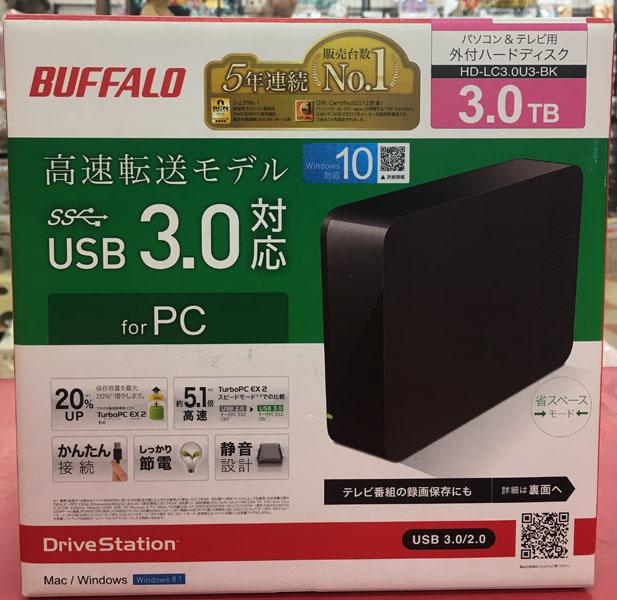 BUFFALO 外付けHDD HD-LC3.0TU3-BK入荷しました| ハードオフ三河安城店