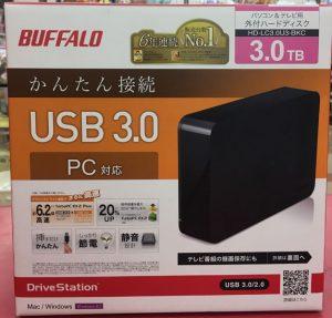 BUFFALO 外付けHDD HD-LC3.0TU3-BKC入荷しました| ハードオフ三河安城店